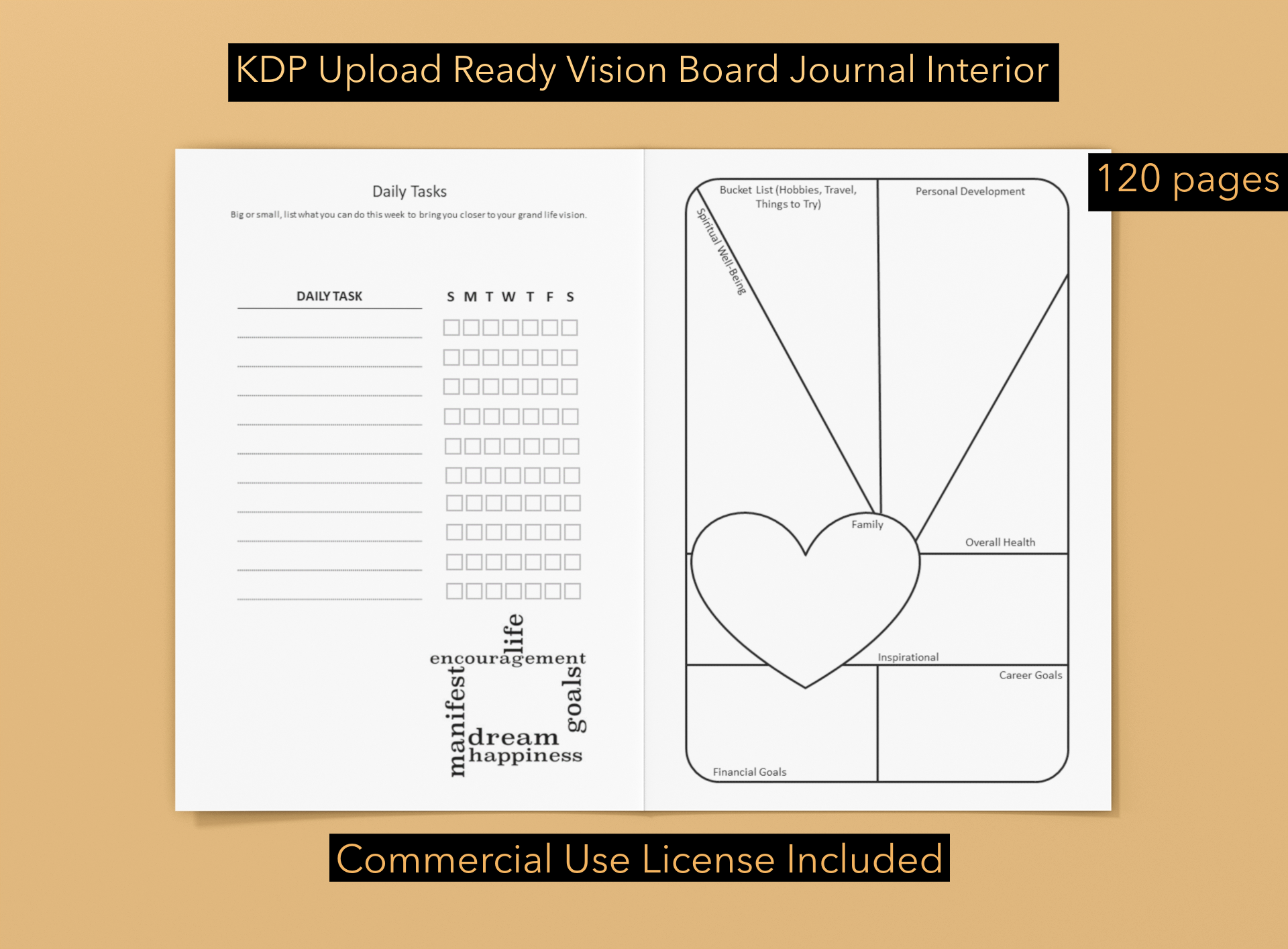 Download Free Kdp Vision Board Journal 1 Graphic By Ombremedia Creative Fabrica for Cricut Explore, Silhouette and other cutting machines.