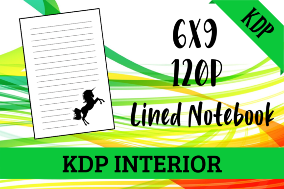 Print on Demand: Lined Notebook with Unicorn KDP Interior Graphic KDP Interiors By Hungry Puppy Studio