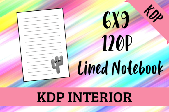 Print on Demand: Lined Notebook with Cactus KDP Interior Graphic KDP Interiors By Hungry Puppy Studio