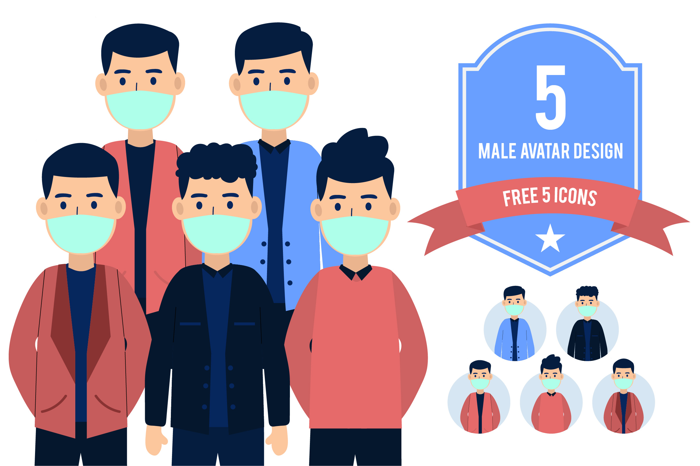 Download Free Male Avatar Vector Bundle Graphic By Indrabayunursa Creative for Cricut Explore, Silhouette and other cutting machines.