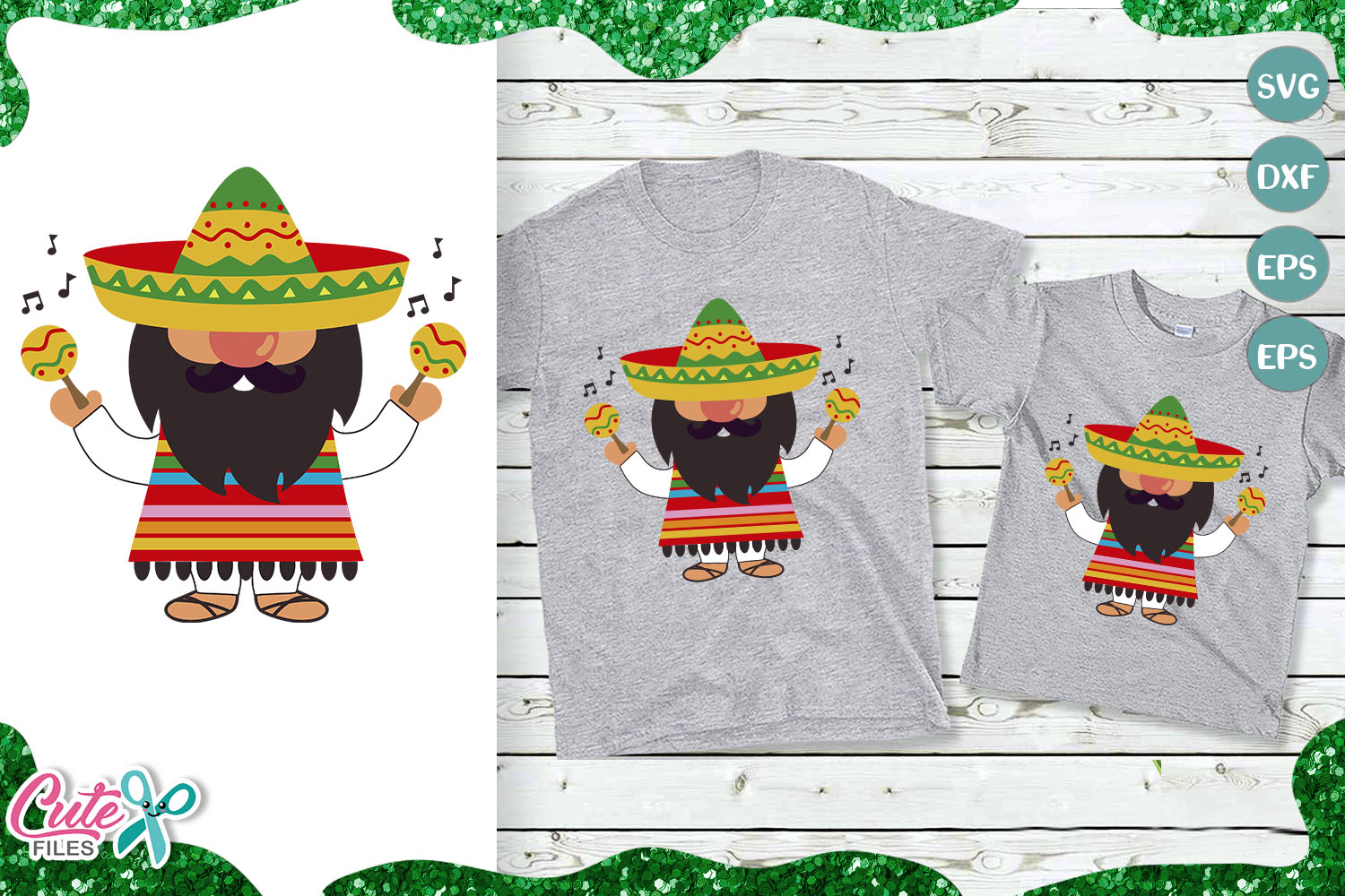 Download Free Mexican Gnome And Maracas Graphic By Cute Files Creative Fabrica for Cricut Explore, Silhouette and other cutting machines.