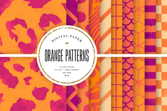 Print on Demand: Orange Watercolor Geometric Backgrounds Graphic Backgrounds By Sabina Leja