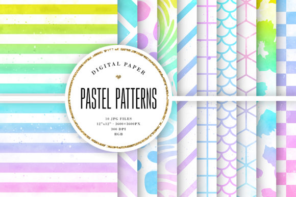 Print on Demand: Pastel Ombre Watercolor Patterns Graphic Backgrounds By Sabina Leja