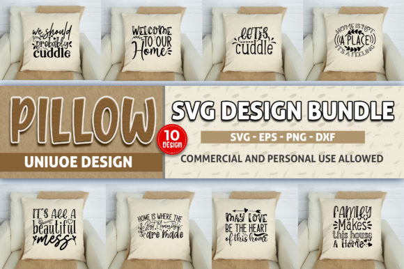 Download Free Pillow Bundle Graphic By Subornastudio Creative Fabrica for Cricut Explore, Silhouette and other cutting machines.