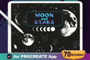 Procreate Brushes - Moon and Stars Graphic Brushes By dibrush