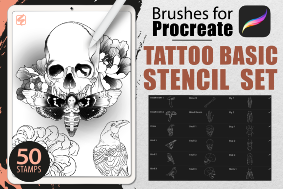 Procreate - Tattoo Basic Stencil Set Graphic Brushes By dibrush