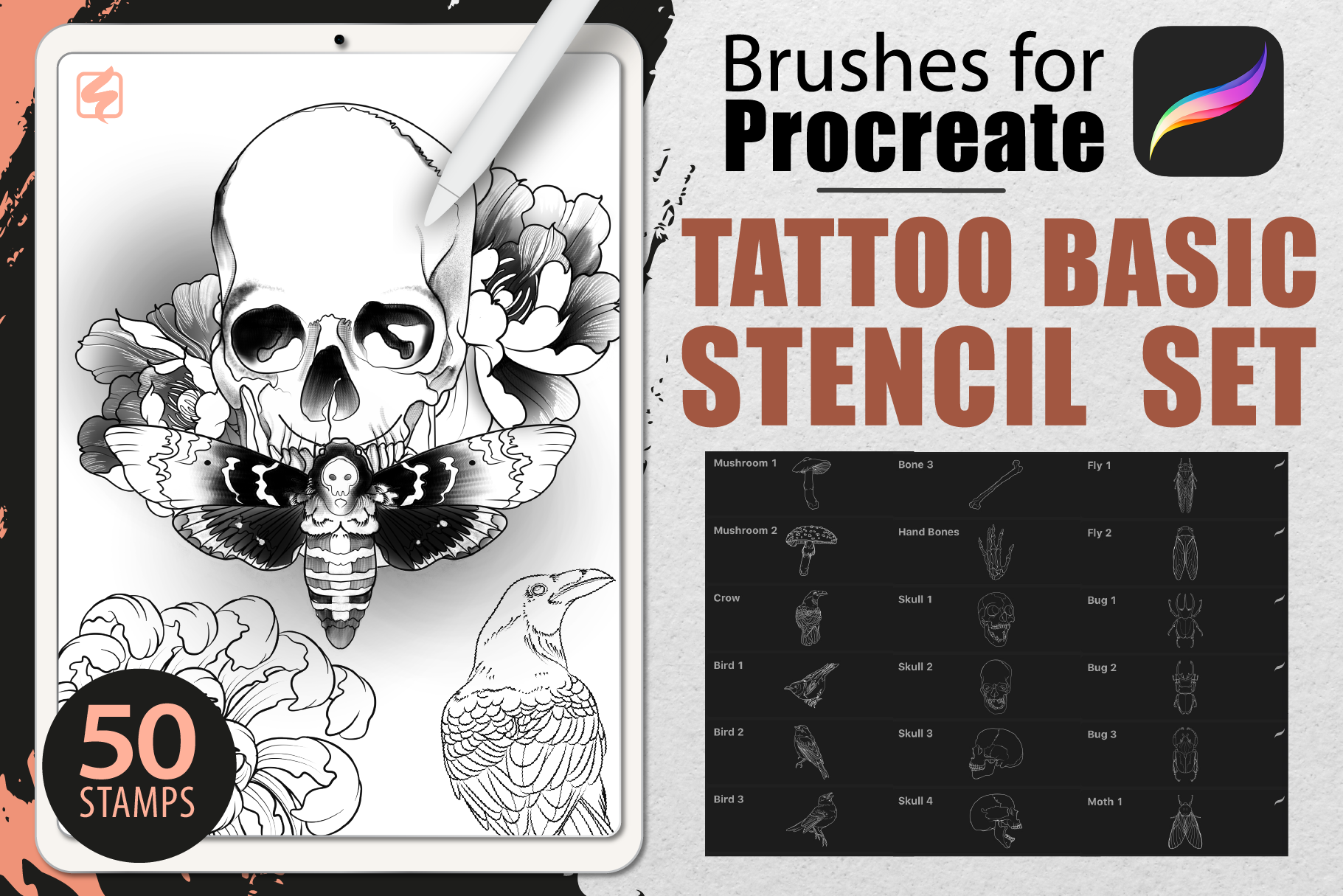 Download Free Procreate Tattoo Basic Stencil Set Graphic By Dibrush for Cricut Explore, Silhouette and other cutting machines.