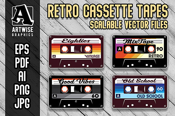 Retro Vintage Cassette Tapes Graphic Crafts By Artwise Graphics