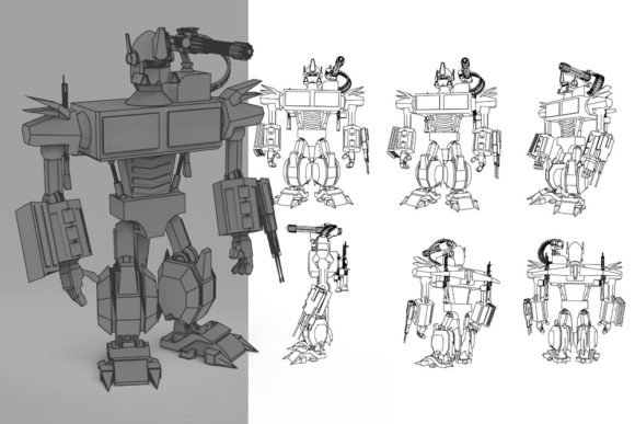 Print on Demand: Robot Mark One Graphic Illustrations By Gblack Id