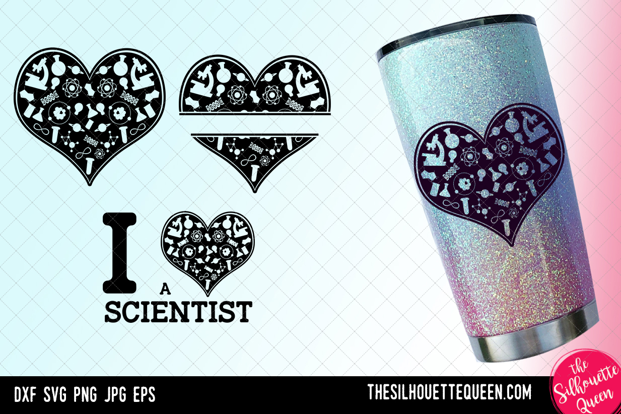 Download Free Scientist Heart Valentines Day Graphic By for Cricut Explore, Silhouette and other cutting machines.
