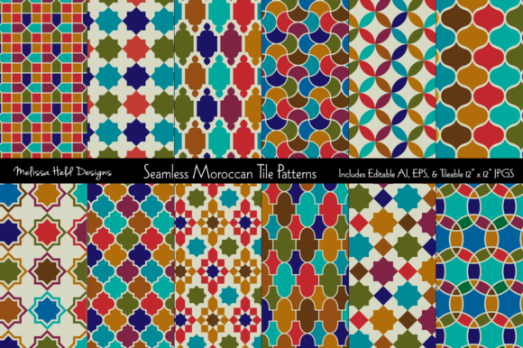 Seamless Moroccan Tile Patterns Graphic Patterns By Melissa Held Designs