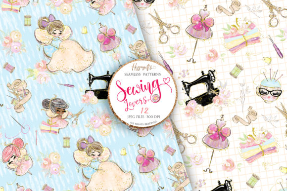 Sewing Lovers Seamless Patterns Graphic Patterns By Hippogifts - Image 3