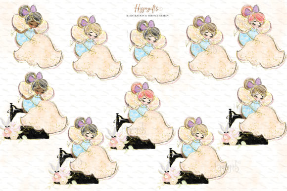 Sewing Lovers and Fairies Clipart Graphic Download