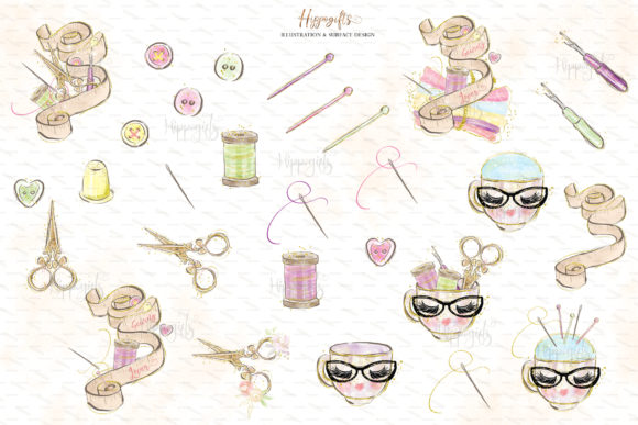 Sewing Lovers and Fairies Clipart Graphic Design