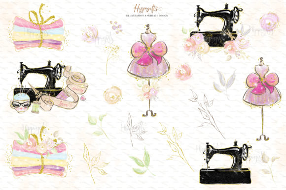 Download Free Sewing Lovers And Fairies Clipart Graphic By Hippogifts for Cricut Explore, Silhouette and other cutting machines.