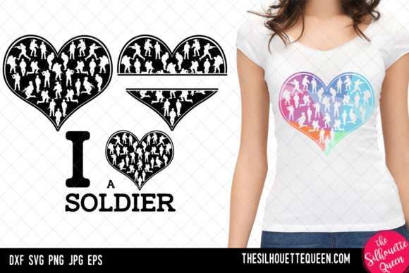 Download Free Soldier Heart Valentines Day Graphic By Thesilhouettequeenshop for Cricut Explore, Silhouette and other cutting machines.