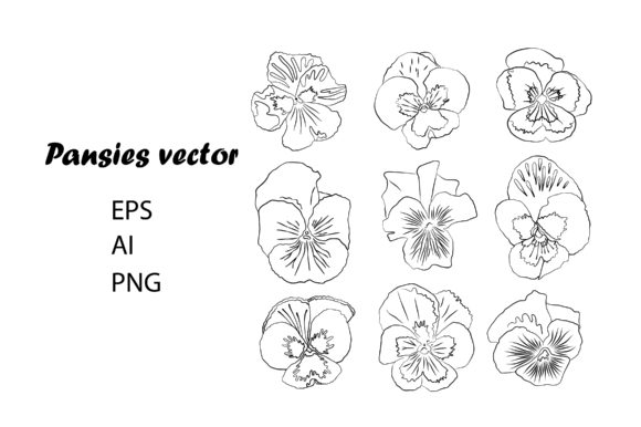Print on Demand: Stylized Pansies Outlines Graphic Graphic Illustrations By EmbArt