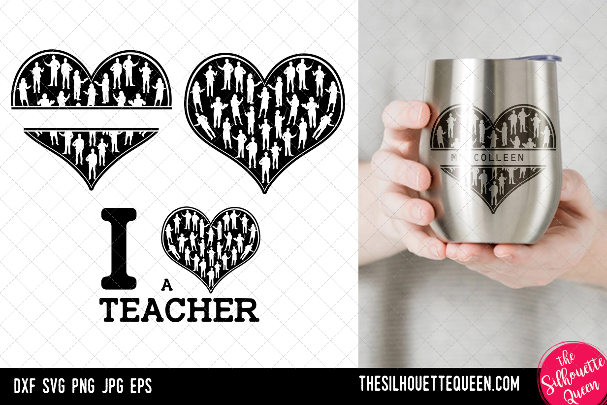Download Free Teacher Heart Valentines Day Graphic By Thesilhouettequeenshop for Cricut Explore, Silhouette and other cutting machines.