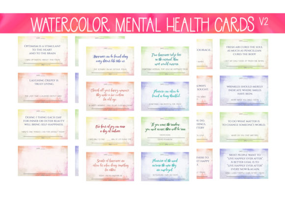 Download Free Watercolor Mh Wellness Cards V2 Graphic By Capeairforce for Cricut Explore, Silhouette and other cutting machines.