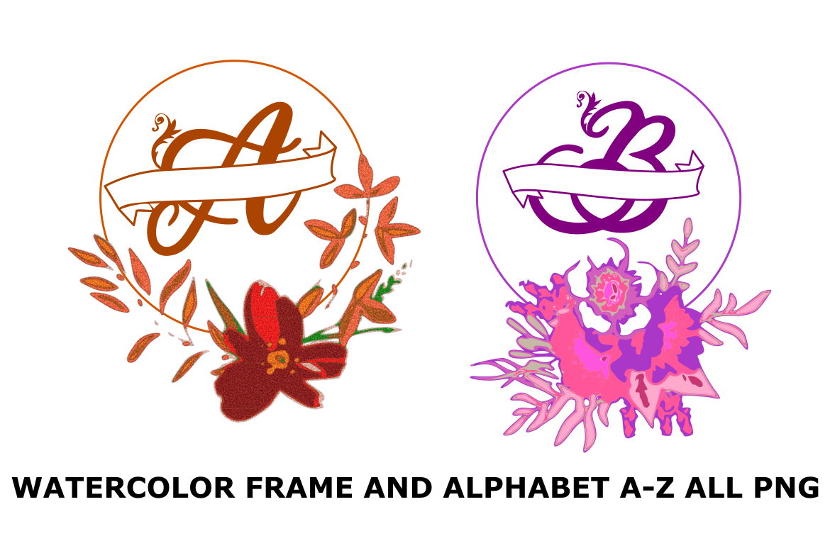 Download Free Watercolor Frame And Alphabet A Z Png Graphic By Rusd Studio for Cricut Explore, Silhouette and other cutting machines.