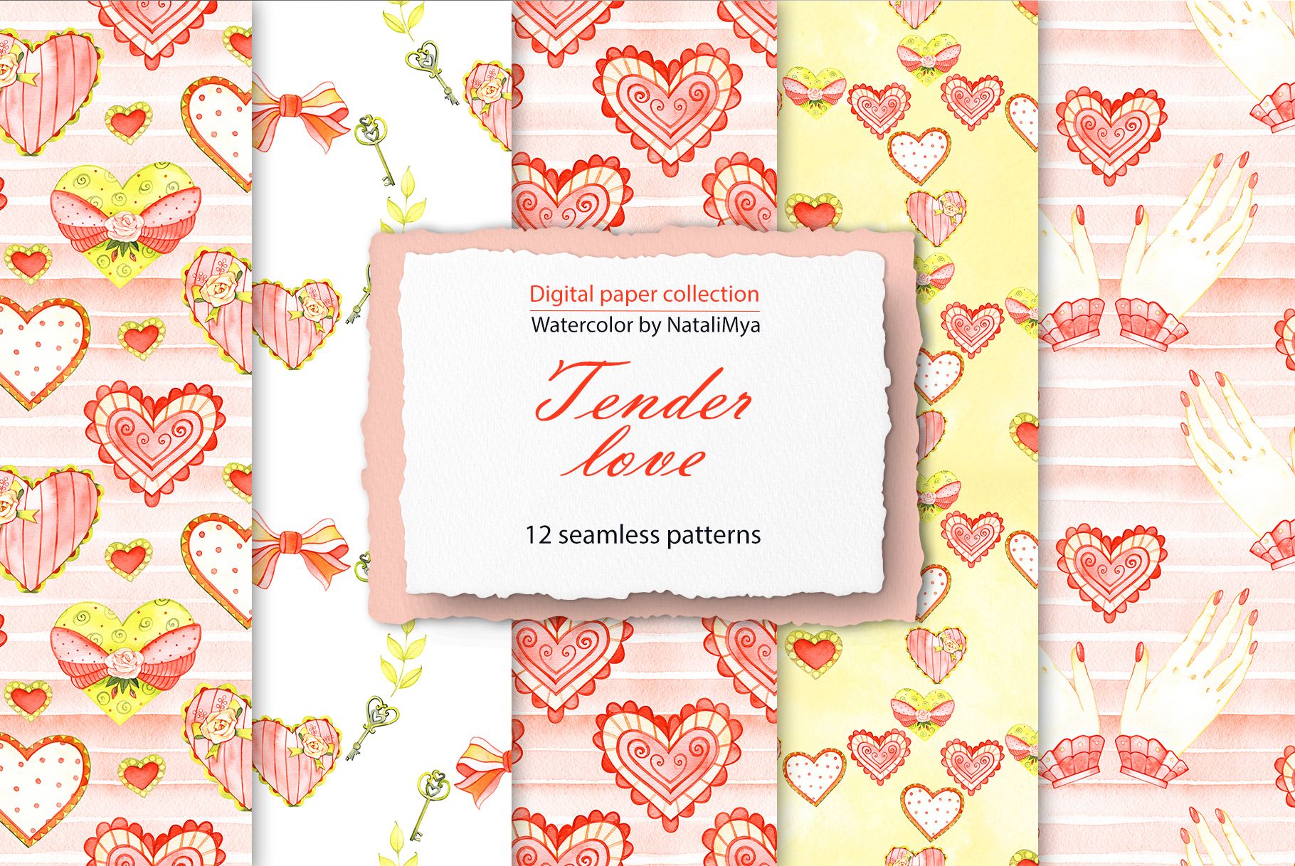 Download Free Watercolor Tender Love Digital Paper Graphic By Natalimyastore for Cricut Explore, Silhouette and other cutting machines.