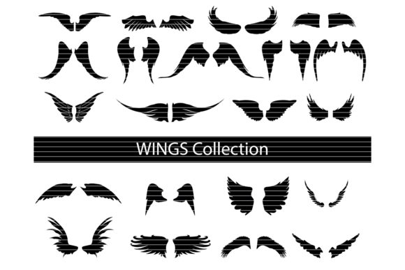 Print on Demand: Wings Silhouette Clip Art Bundle Graphic Crafts By MeshaArts
