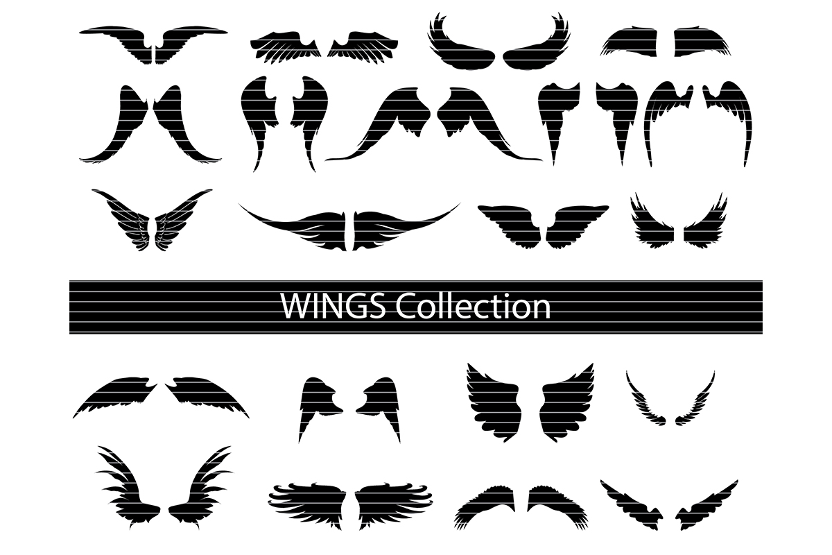 Download Free Wings Silhouette Clip Art Bundle Graphic By Meshaarts Creative for Cricut Explore, Silhouette and other cutting machines.