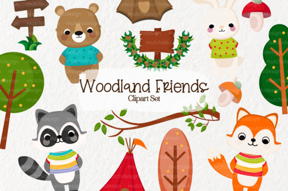 Woodland Friends Clipart Set Graphic By Mutchi Design Creative Fabrica