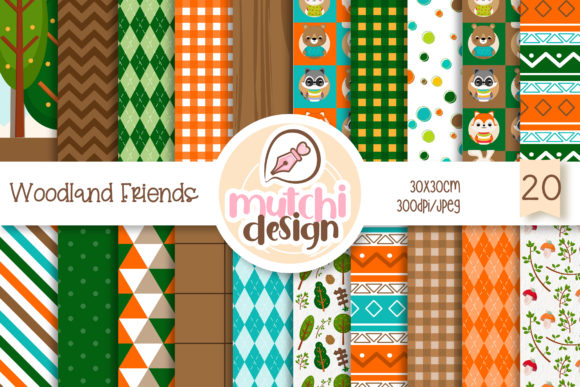 Print on Demand: Woodland Friends Digital Papers Graphic Backgrounds By Mutchi Design
