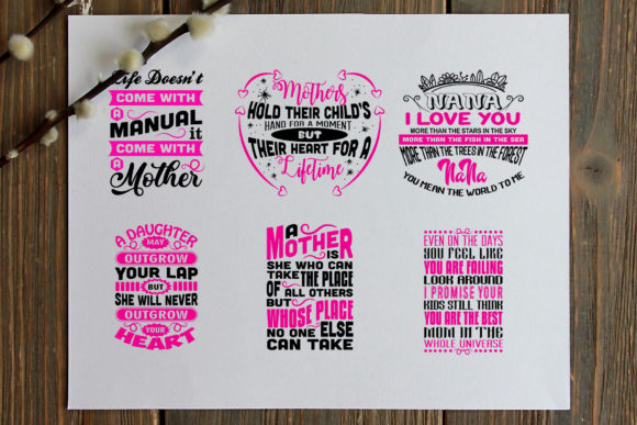 Download Free 20 Mother Quotes Graphic By Tosca Digital Creative Fabrica for Cricut Explore, Silhouette and other cutting machines.