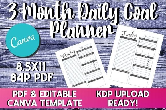 Print on Demand: 3 Month Goal Planner | KDP Interior Graphic KDP Interiors By InteriorTastic