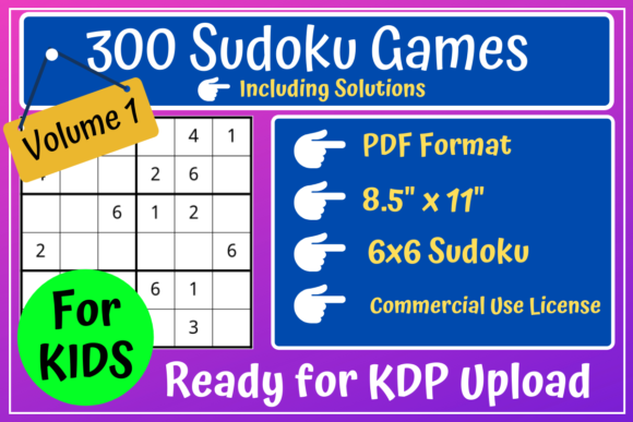 Print on Demand: 300 Sudoku 6x6 Volume 1 | KDP Interior Graphic KDP Interiors By Mastery Templates