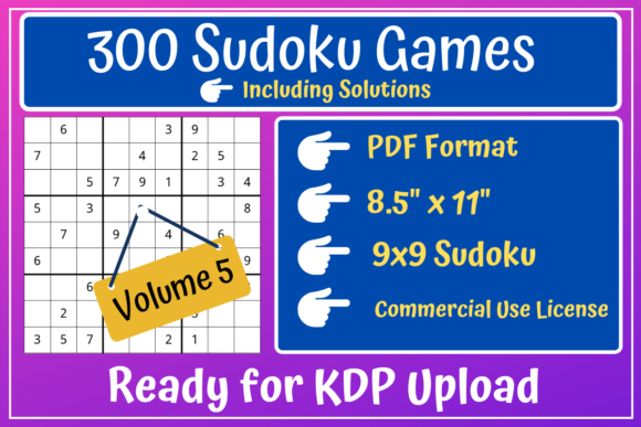 Print on Demand: 300 Sudoku 9x9 Volume 5 | KDP Interior Graphic KDP Interiors By Mastery Templates