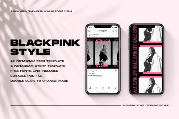 Download Free Black Pink Instagram Social Media Pack Graphic By Unlogic Studio for Cricut Explore, Silhouette and other cutting machines.
