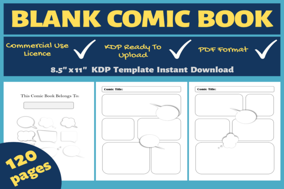 Print on Demand: Blank Comic Book | KDP Interior Graphic KDP Interiors By Mastery Templates