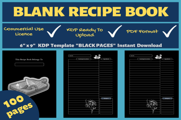 Print on Demand: Blank Recipe Book | KDP Interior Graphic KDP Interiors By Mastery Templates