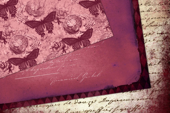 Download Free Burgundy Ephemera Digital Paper Graphic By Digital Curio for Cricut Explore, Silhouette and other cutting machines.