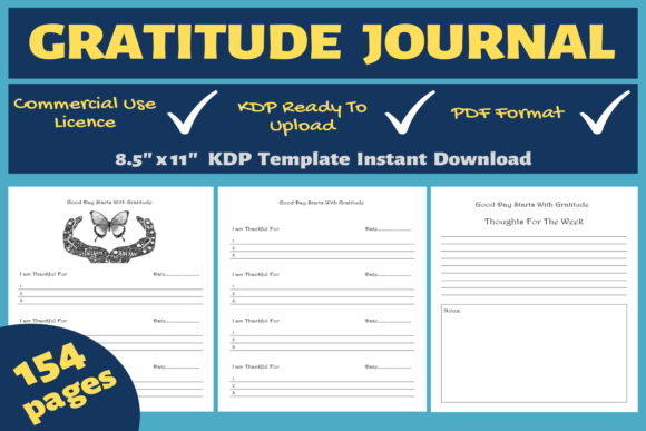Print on Demand: Butterfly Gratitude Journal KDP Interior Grafik KPD Innenseiten von Mastery Templates