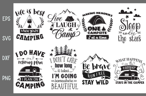 Download Free Camping Pack Graphic By Nerd Mama Cut Files Creative Fabrica for Cricut Explore, Silhouette and other cutting machines.