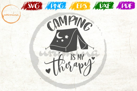 Download Free Camping Is My Therapy Graphic By Uramina Creative Fabrica for Cricut Explore, Silhouette and other cutting machines.