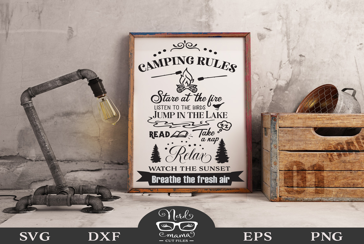 Download Free Camping Rules Cut File Graphic By Nerd Mama Cut Files Creative for Cricut Explore, Silhouette and other cutting machines.