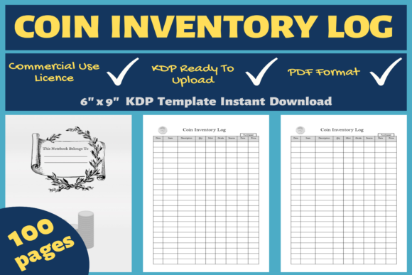Print on Demand: Coin Inventory Log | KDP Interior Graphic KDP Interiors By Mastery Templates