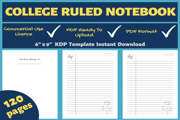 Print on Demand: College Notebook | KDP Interior Graphic KDP Interiors By Mastery Templates