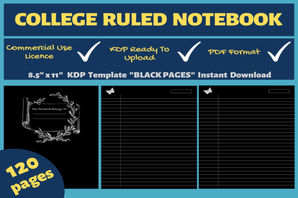 Print on Demand: College Ruled Notebook | KDP Interior Graphic KDP Interiors By Mastery Templates