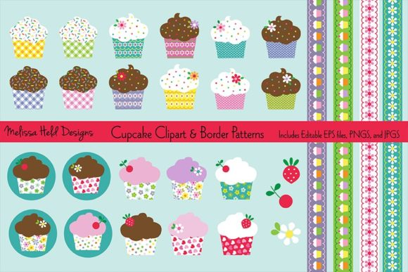 Download Free Cupcake Clipart Border Patterns Graphic By Melissa Held Designs Creative Fabrica for Cricut Explore, Silhouette and other cutting machines.