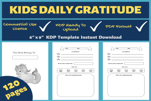 Print on Demand: Daily Gratitude for Kids | KDP Interior Graphic KDP Interiors By Mastery Templates