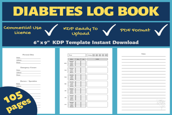 Print on Demand: Diabetes Log Book | KDP Interior Graphic KDP Interiors By Mastery Templates