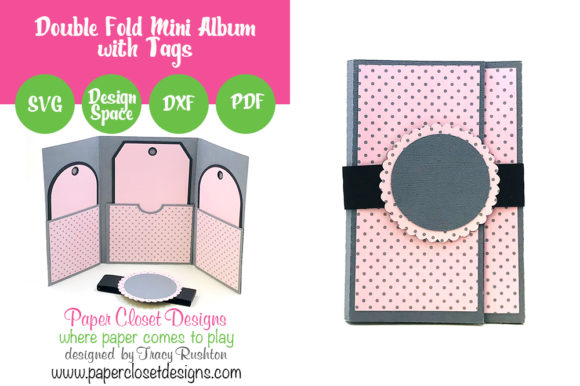 Double Fold Mini Album with Tags Graphic 3D SVG By rushton_tracy