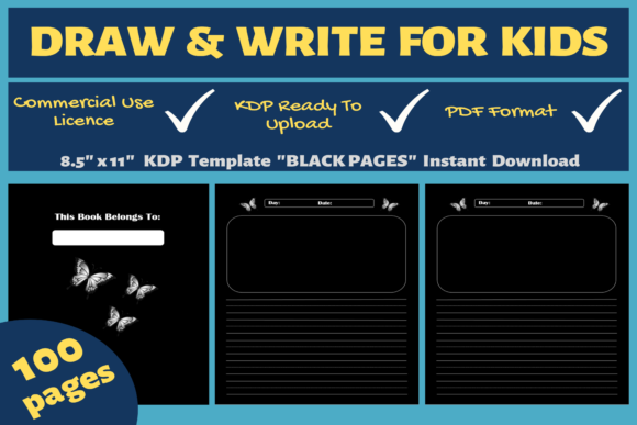 Print on Demand: Draw & Write for Kids | KDP Interior Graphic KDP Interiors By Mastery Templates
