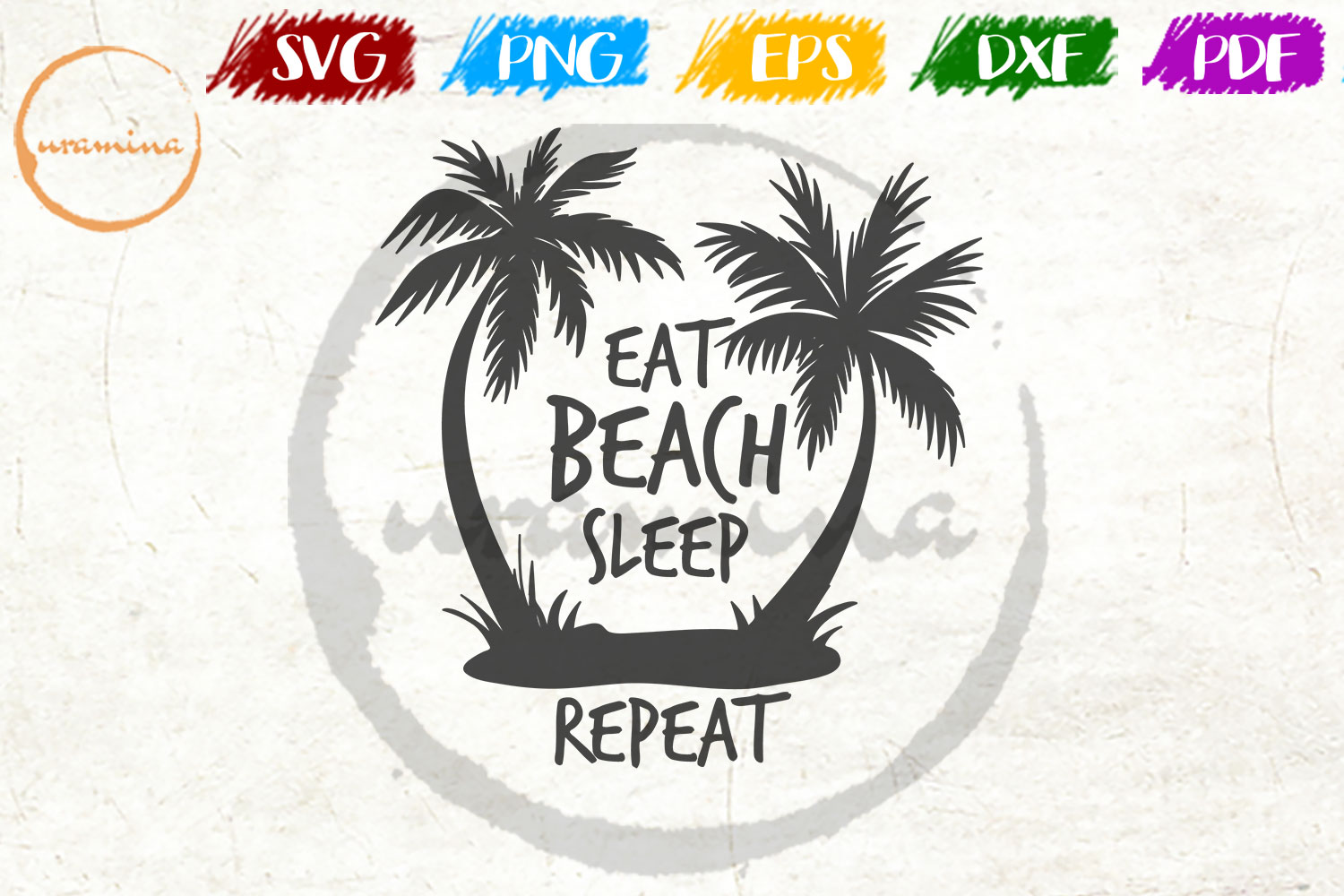 Download Free Eat Beach Sleep Repeat Graphic By Uramina Creative Fabrica for Cricut Explore, Silhouette and other cutting machines.